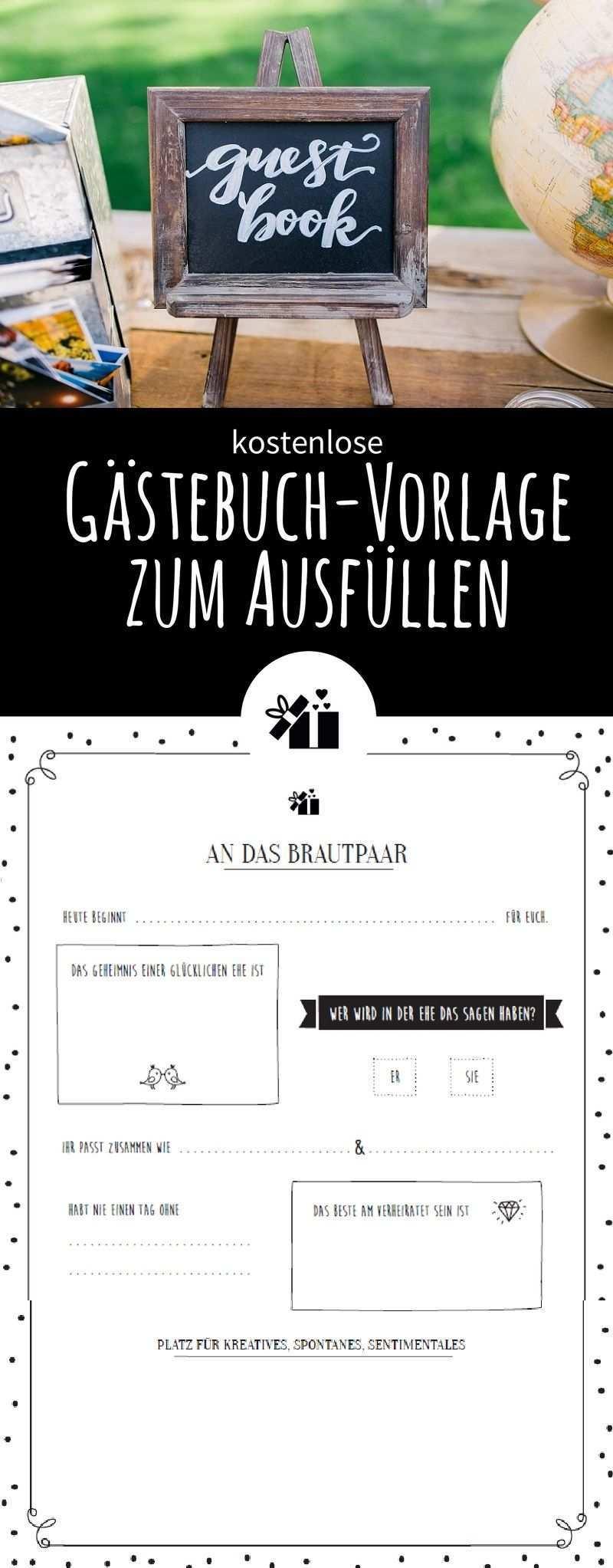Tolle Gastebuch Vorlage Zum Ausfullen Gratis Download Hochzeitskiste Hochzeitsplaner Buch Gastebuch Hochzeit Gastebuch Ideen