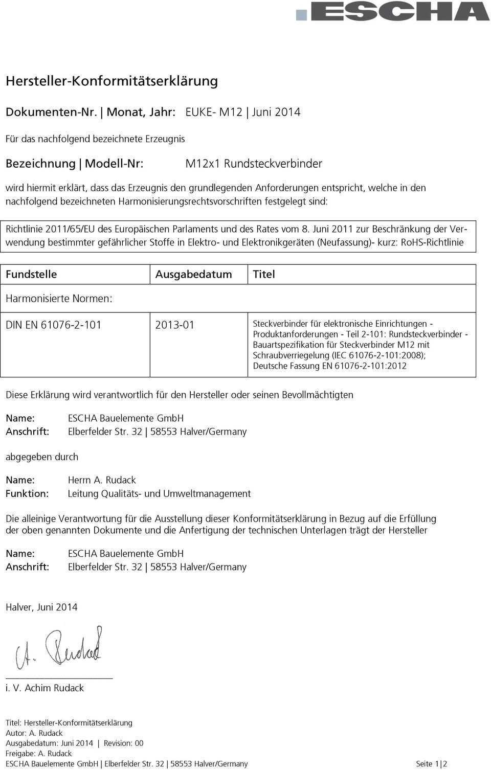 Hersteller Konformitatserklarung Pdf Kostenfreier Download