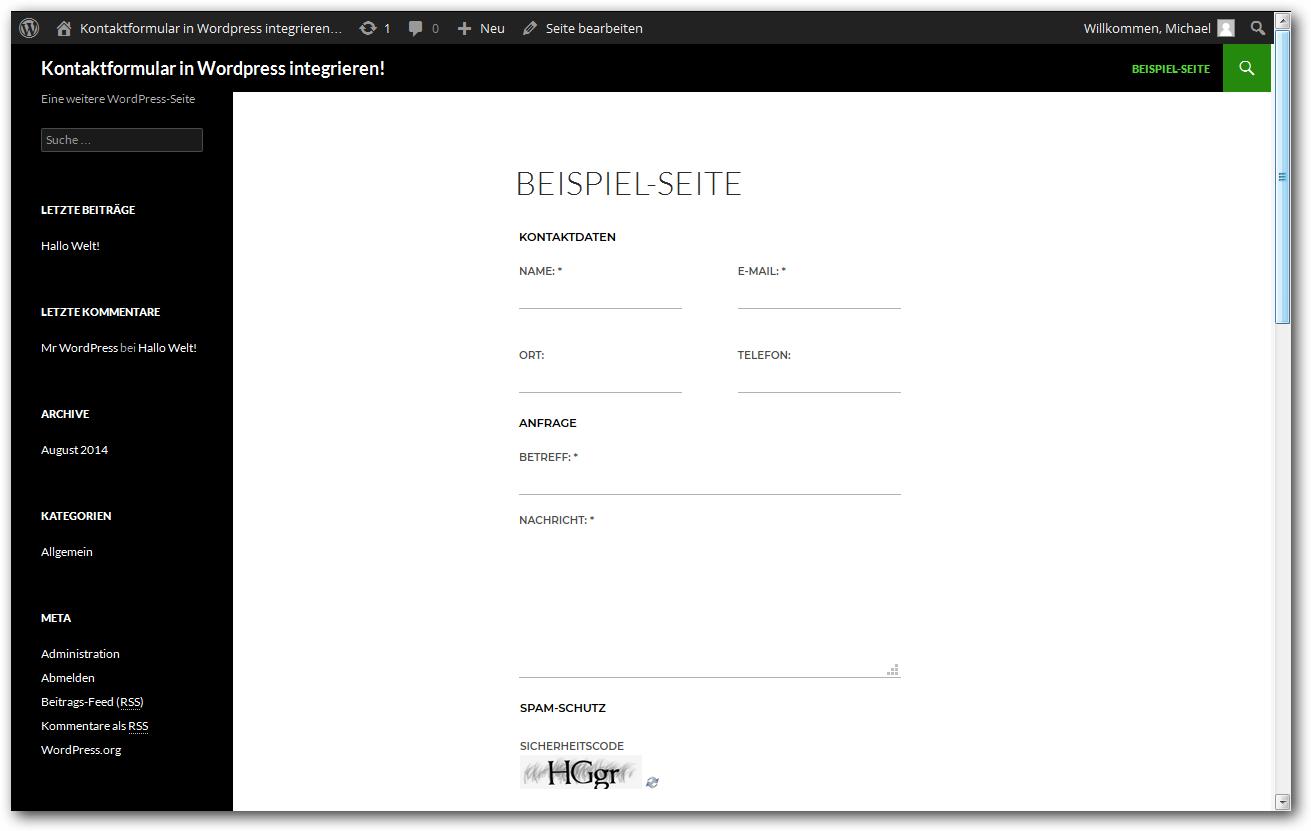 Wordpress Ein Modernes Kontaktformular Mit Spamschutz