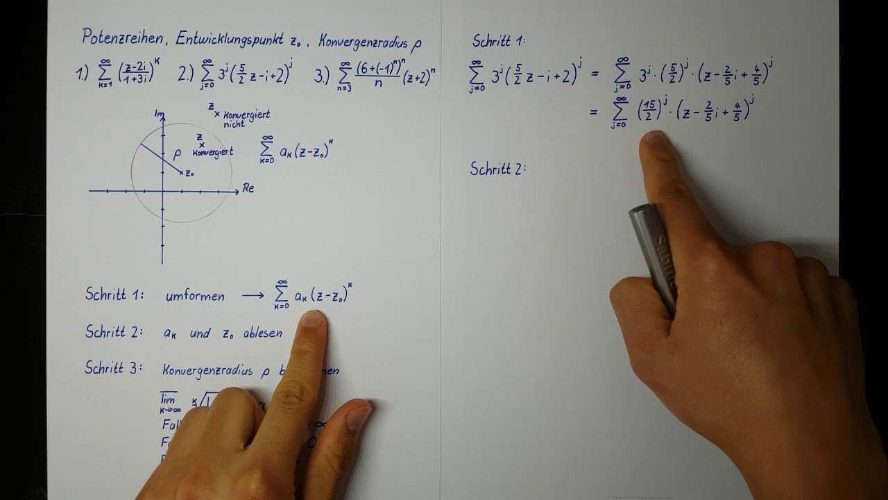 Komplexe Potenzreihen Entwicklungspunkt Konvergenzradius Berechnen Hohere Mathematik Youtube