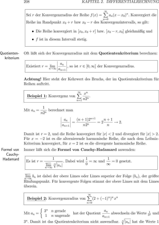 2 12 Potenzreihen 1 Definitionen 2 Berechnung Potenzreihen 207 Der Wichtigste Spezialfall Von Funktionenreihen Sind Potenzreihen Pdf Kostenfreier Download