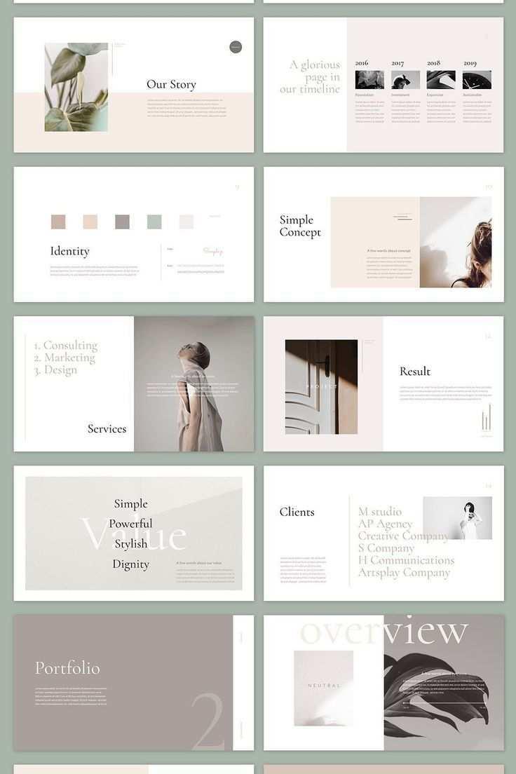 Neutral Powerpoint Template By Simple P Portfolio Design Layouts Broschuren Layout Portfoliolayout