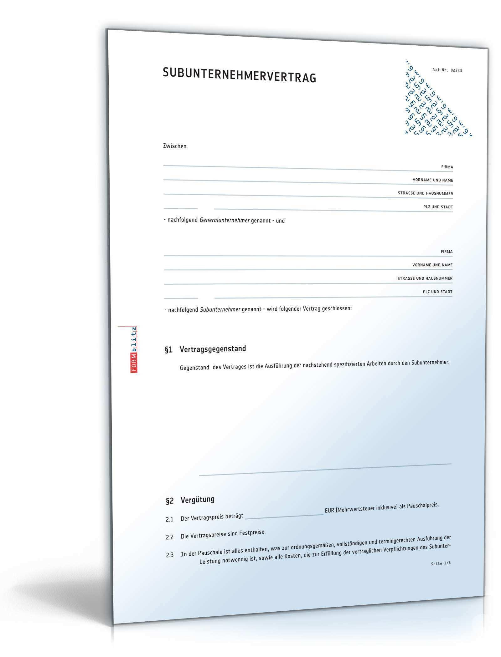 Subunternehmervertrag Rechtssicherer Vordruck Zum Download