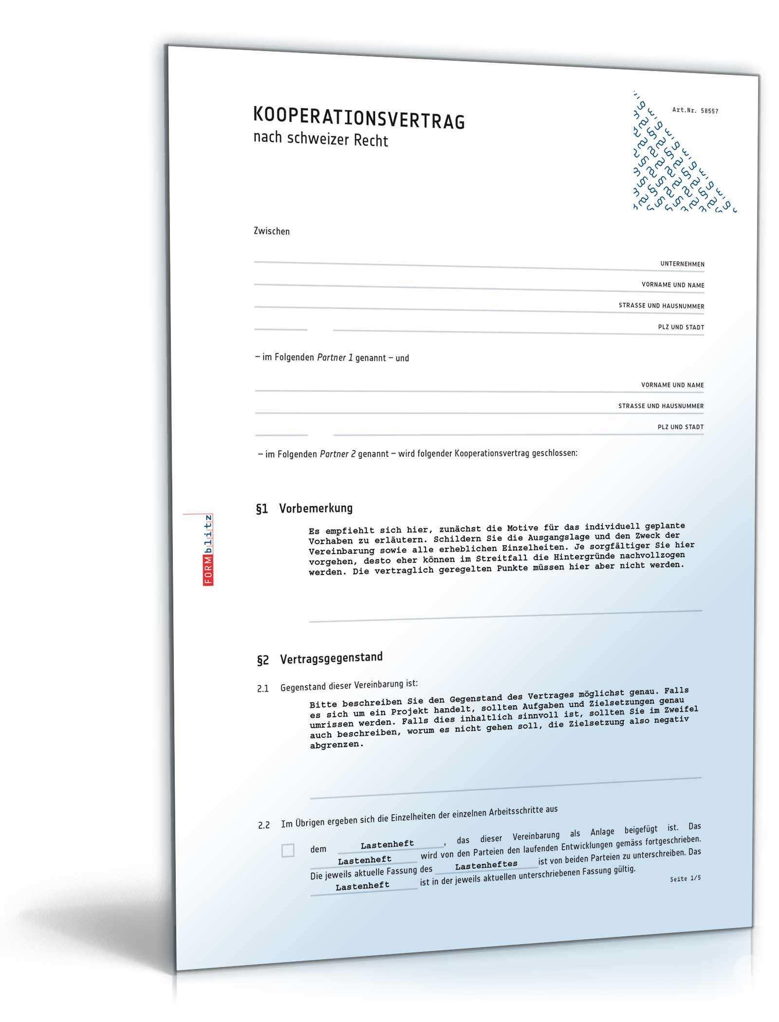 Kooperationsvertrag Muster Zum Download