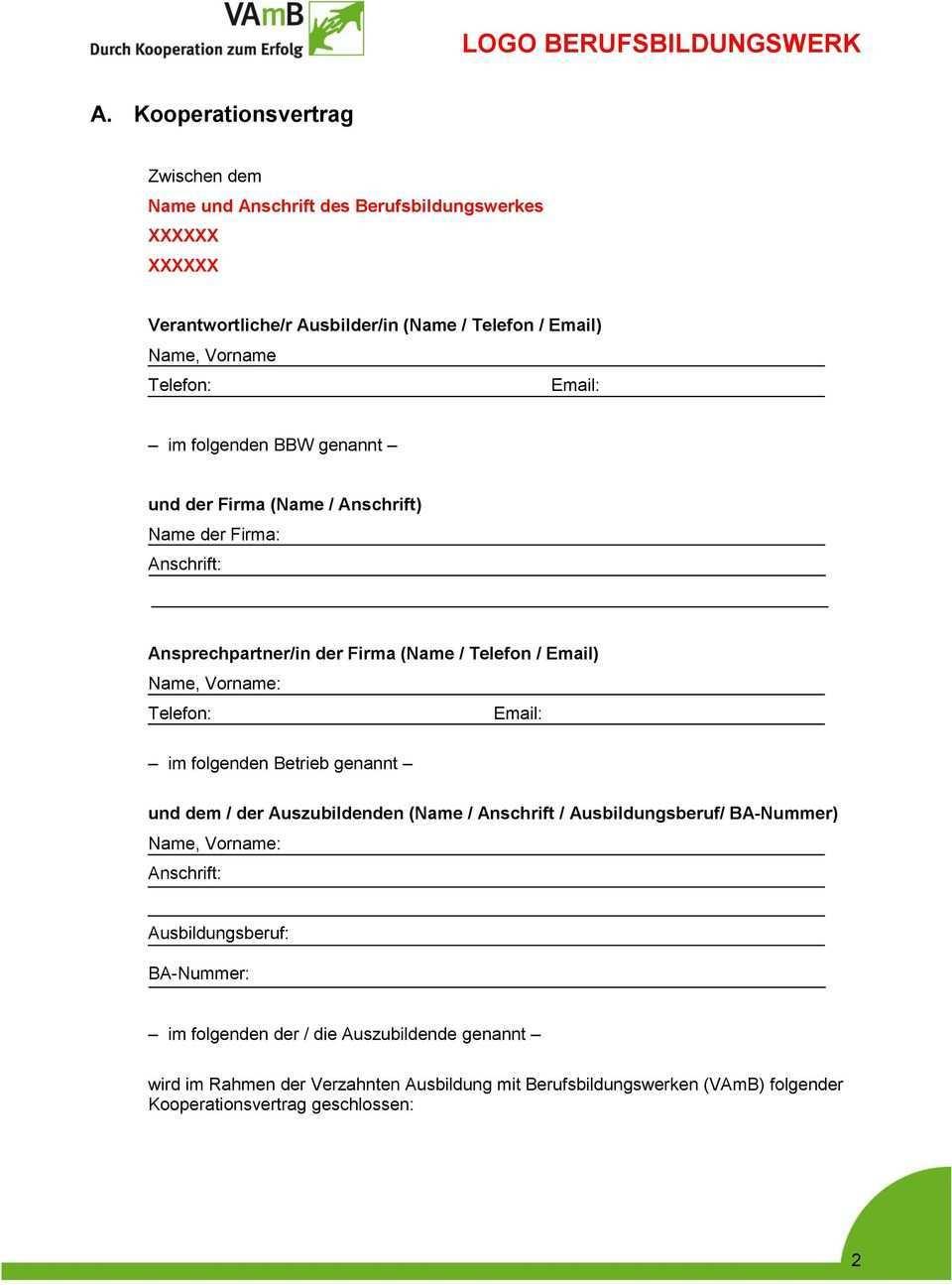 Muster Kooperationsvertrag Pdf Kostenfreier Download