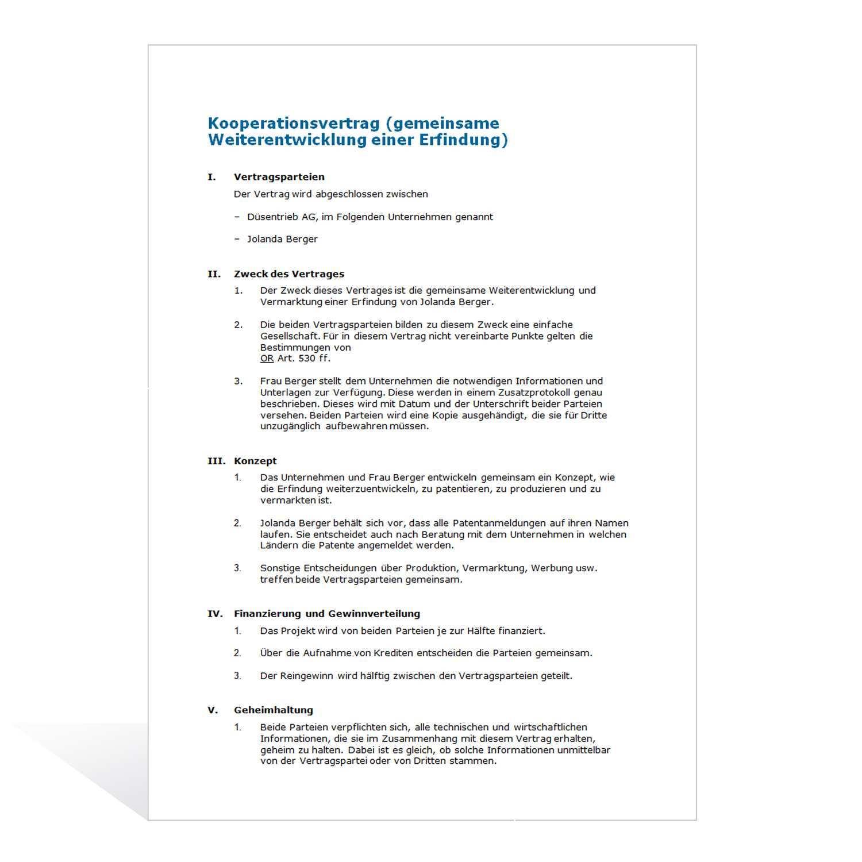 Muster Kooperationsvertrag F E