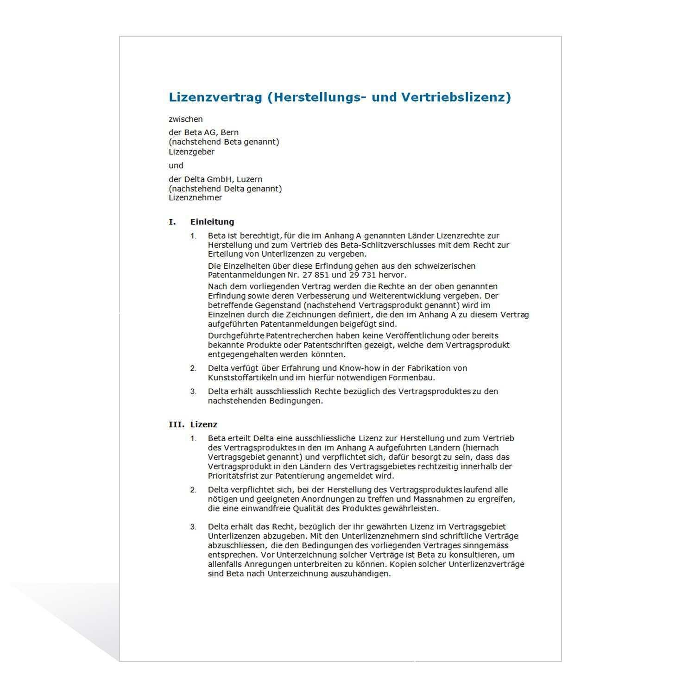 Muster Lizenzvertrag Herstellung Und Vertrieb