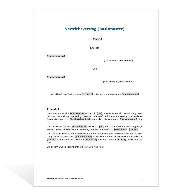 Muster Vertriebsvertrag Basismuster