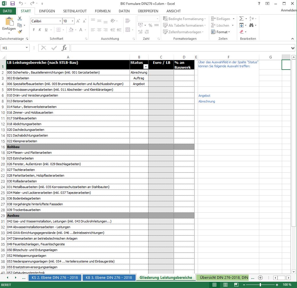 Formulare Kostenplanung Din 276 Version 3