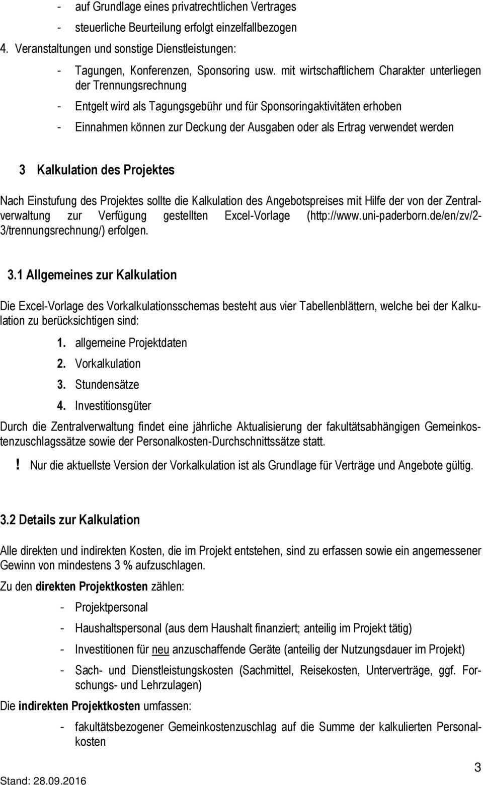 Merkblatt Zur Kalkulation Von Drittmittelprojekten Im Rahmen Der Trennungsrechnung Pdf Free Download