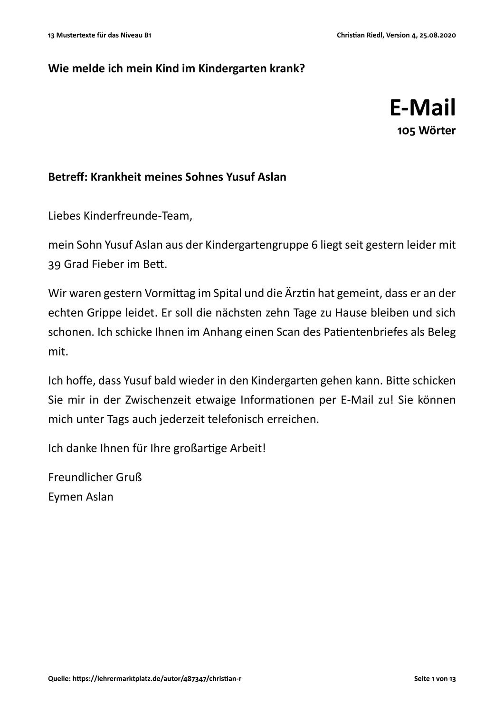13 Mustertexte Fur Das Niveau B1 Prufungsvorbereitung B1 Prufungsvorbereitung Daf Deutsch Lernen