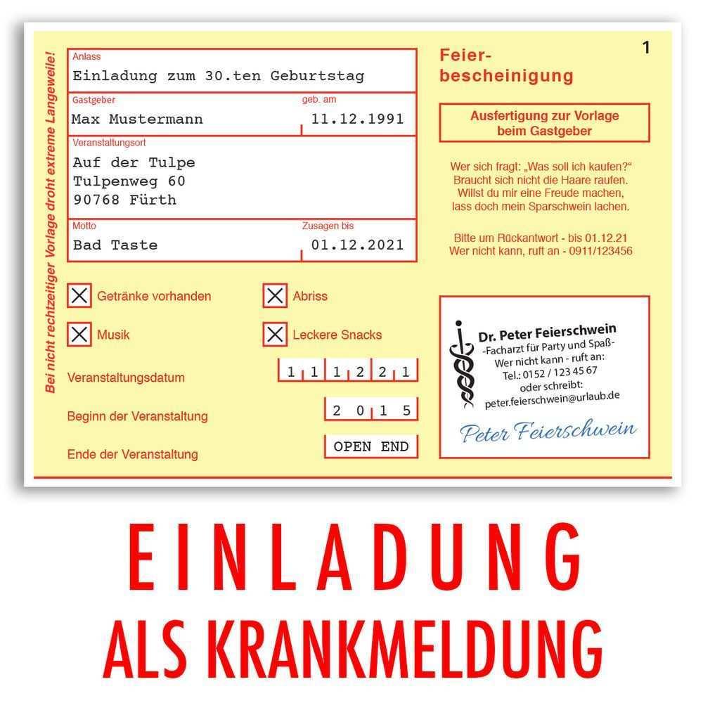 Einladungen Geburtstag Krankschreibung Krankmeldung Einladungskarten 30 40 50 60 Ebay Einladung Geburtstag Einladungen Geburtstag Kostenlos Einladungskarten Geburtstag