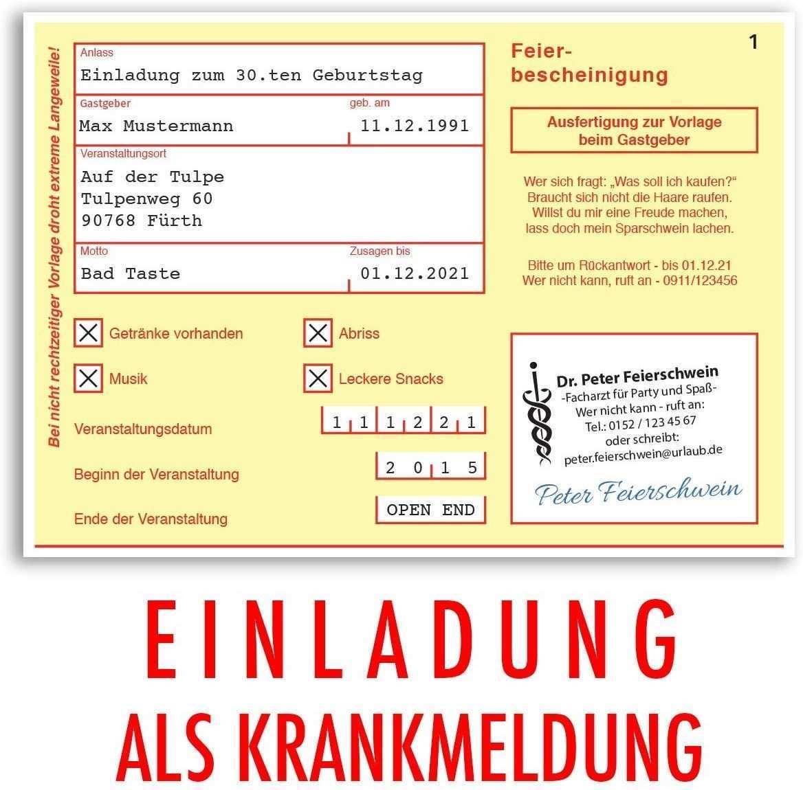 10 X Einladungskarten Geburtstag Krankschreibung Krankmeldung Arbeitsunfahigkeit Einladungen Amazon Einladungskarten Geburtstag Einladungen Einladungskarten