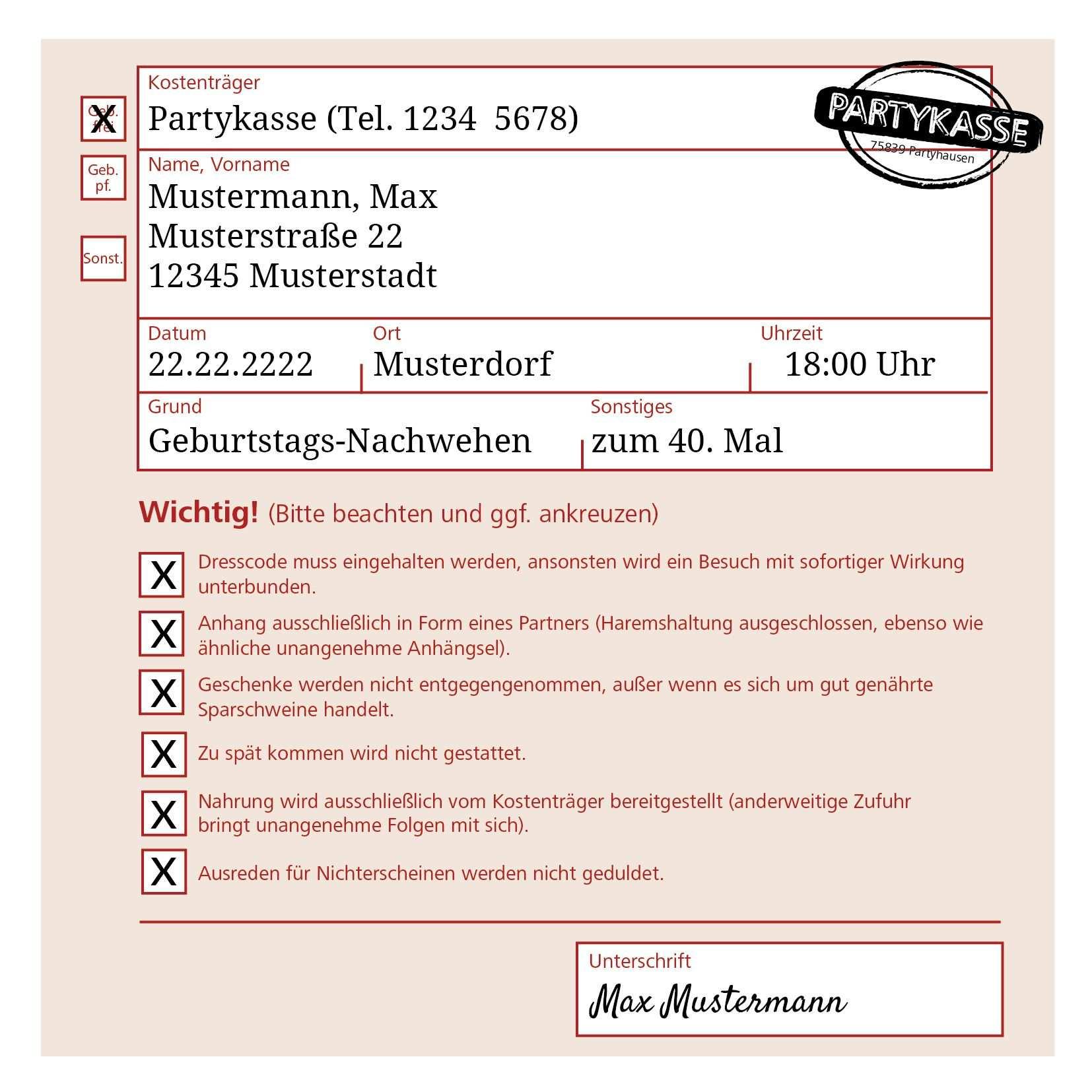 Party Rezept Einladung Zum Geburtstag Witzig Und Originell Als Arztrezept Einladung Geburtstag Einladungen Einladungskarten
