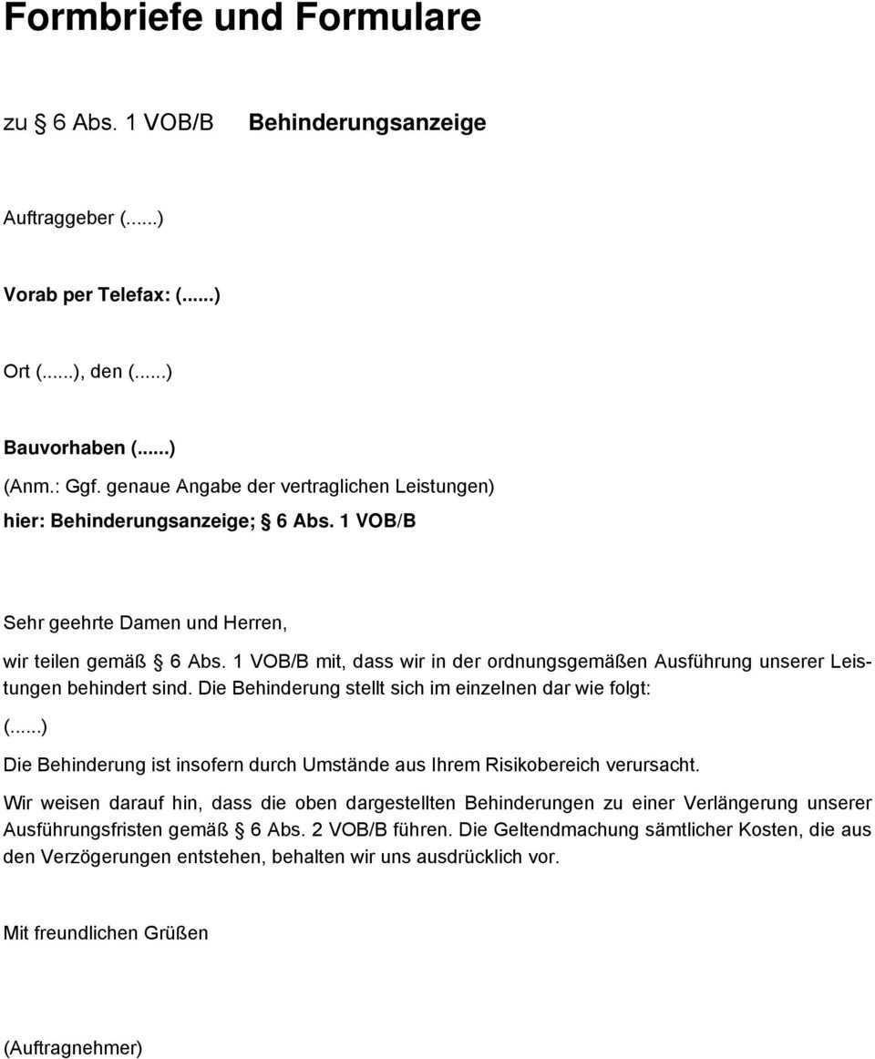 Musterbriefe Zur Vob Ausgabe Mai Pdf Kostenfreier Download