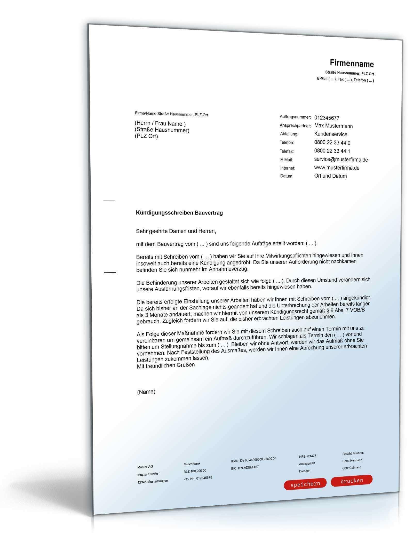 Kundigung Bauvertrag Muster Zum Download