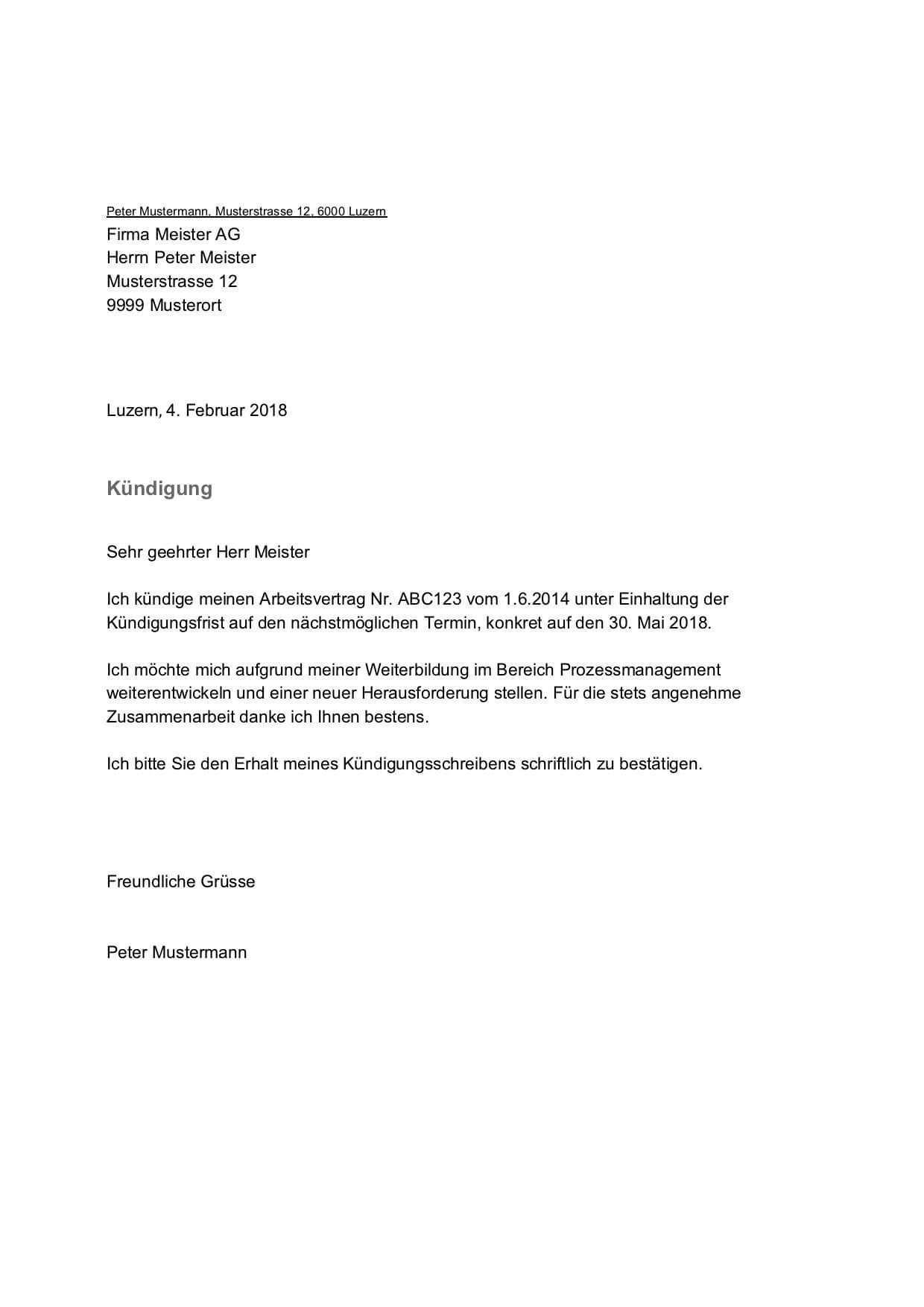 Gratis Kundigungsschreiben Vorlage Mit Diesem Muster Kundigen Sie Als Arbeitnehmer In Der Schweiz Ihren Job Probl Kundigung Schreiben Vorlagen Word Kundigung
