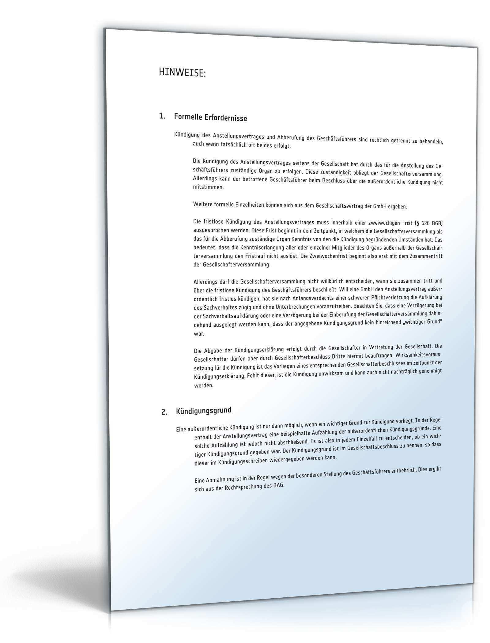 Fristlose Kundigung Geschaftsfuhrer Muster Zum Download