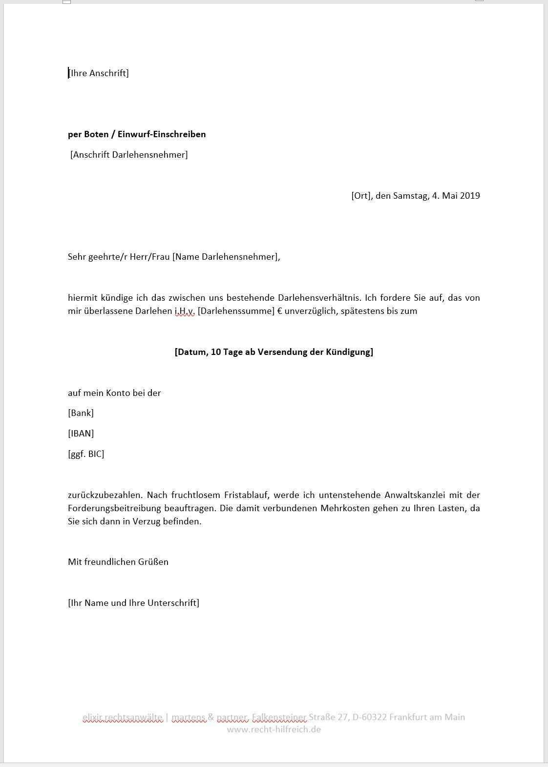 Vorlage Muster Kundigung Darlehen Unternehmensrecht Wirtschaftsrecht Elixir Rechtsanwalte Frankfurt Am Main