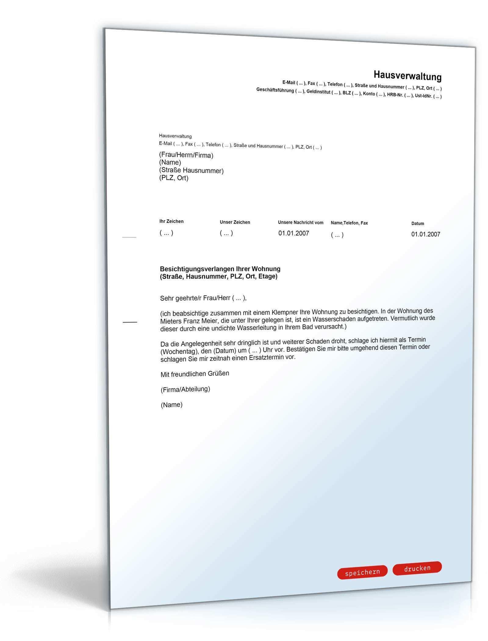 Besichtigungsverlangen Wohnung Durch Vermieter Muster Vorlage Zum Download