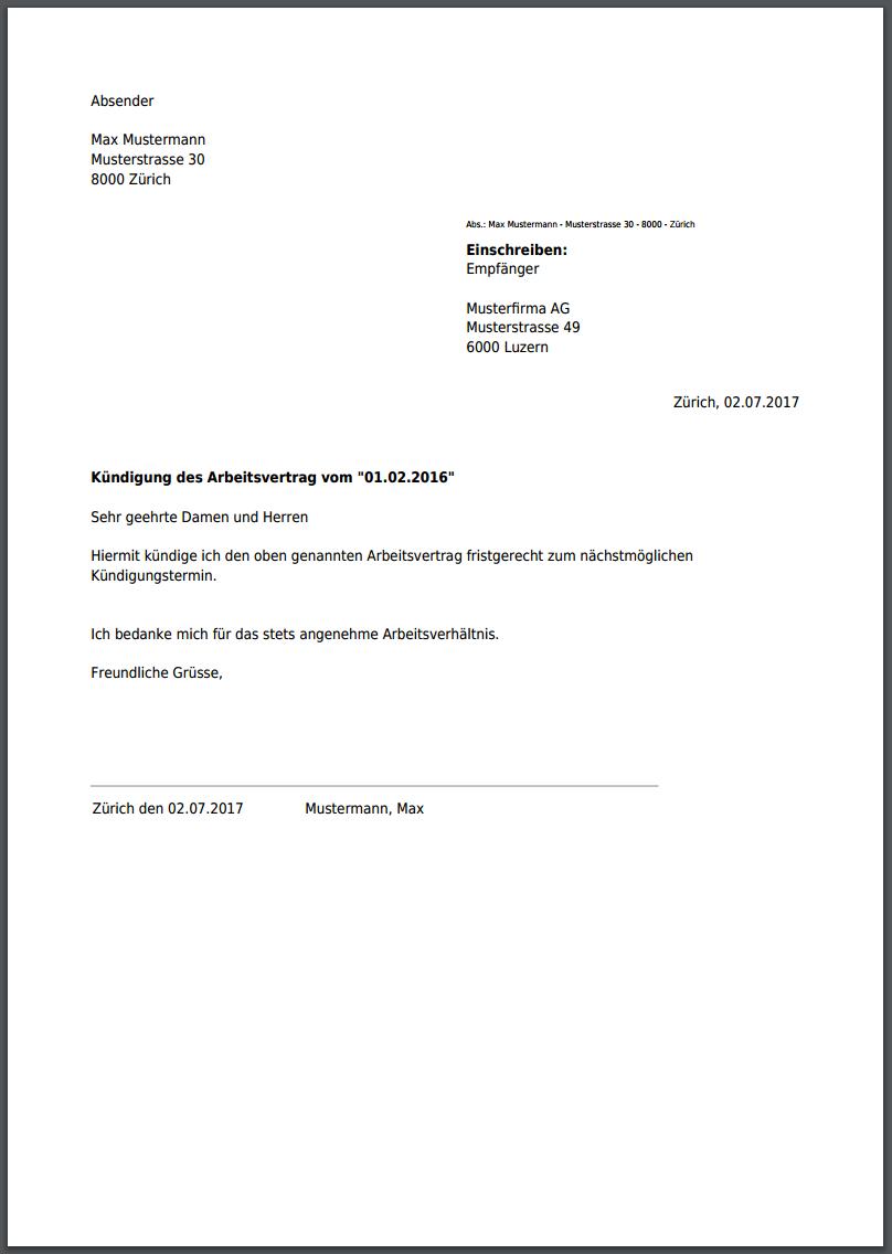 Kundigungsschreiben Arbeitsvertrag Kundigung Schreiben Vorlagen Word Kundigung