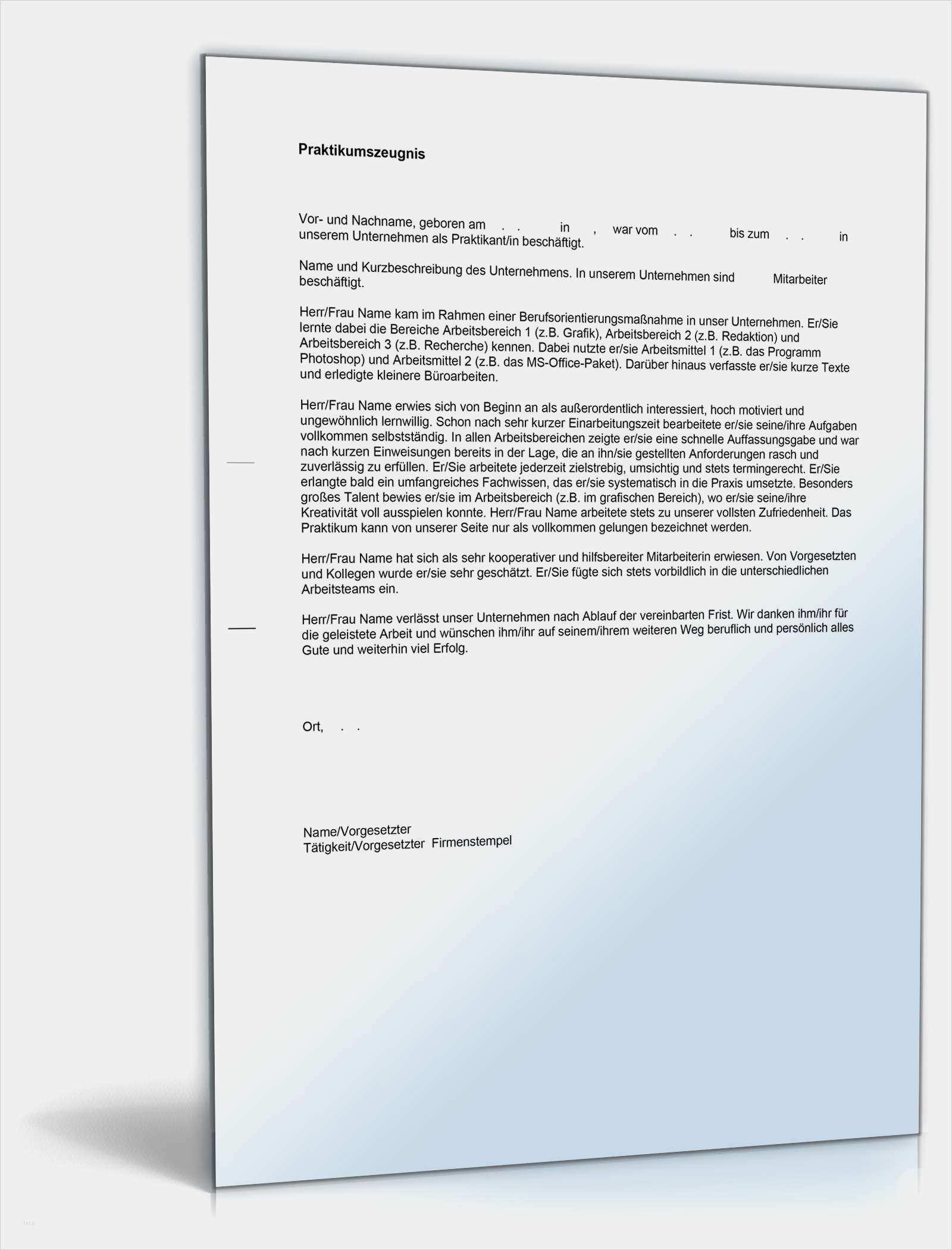 31 Wunderbar Praktikumszeugnis Vorlage Pdf Galerie Arbeitszeugnis Zeugnis Lebenslauf Vorlagen Word