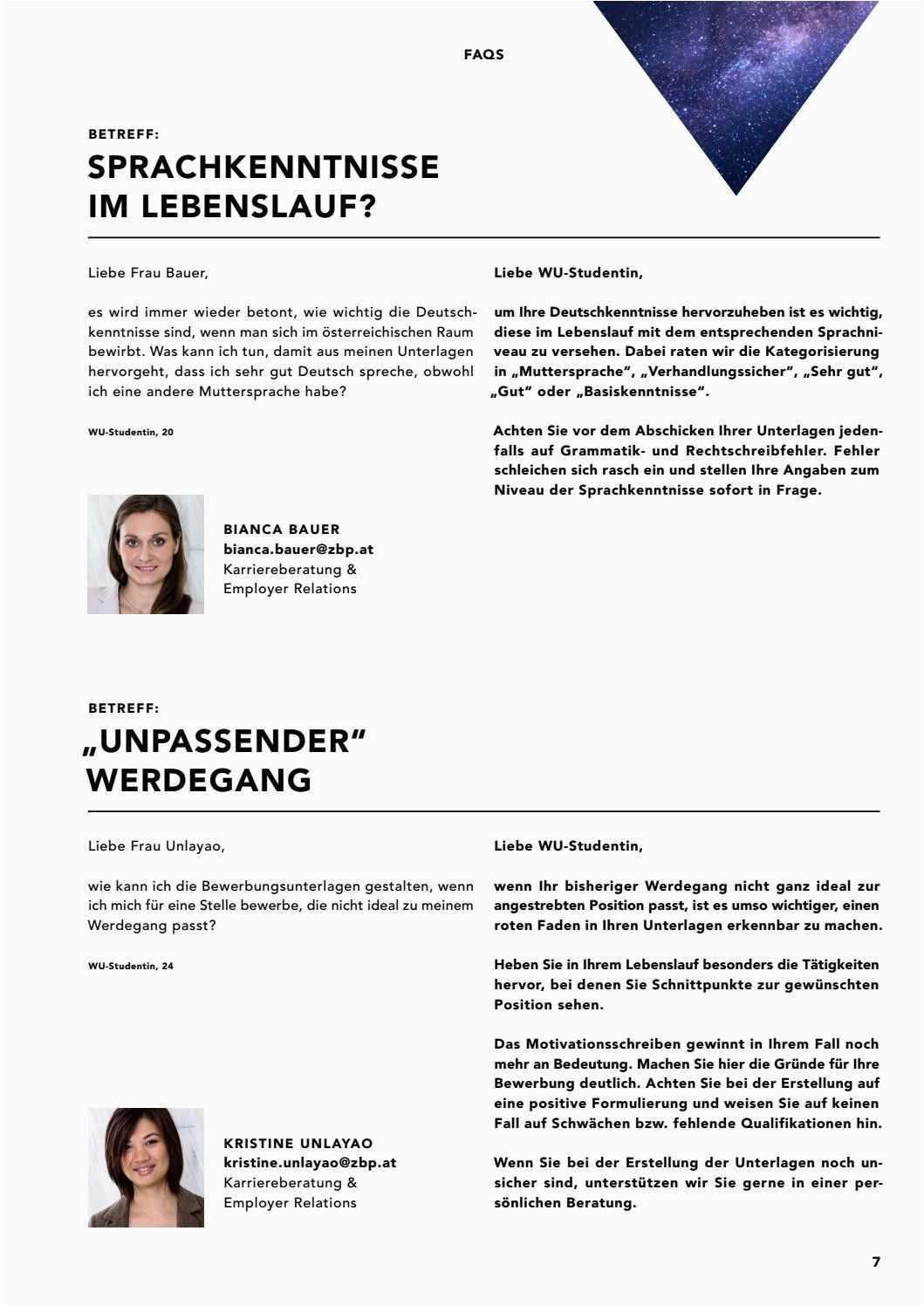 Deutschkenntnisse Lebenslauf