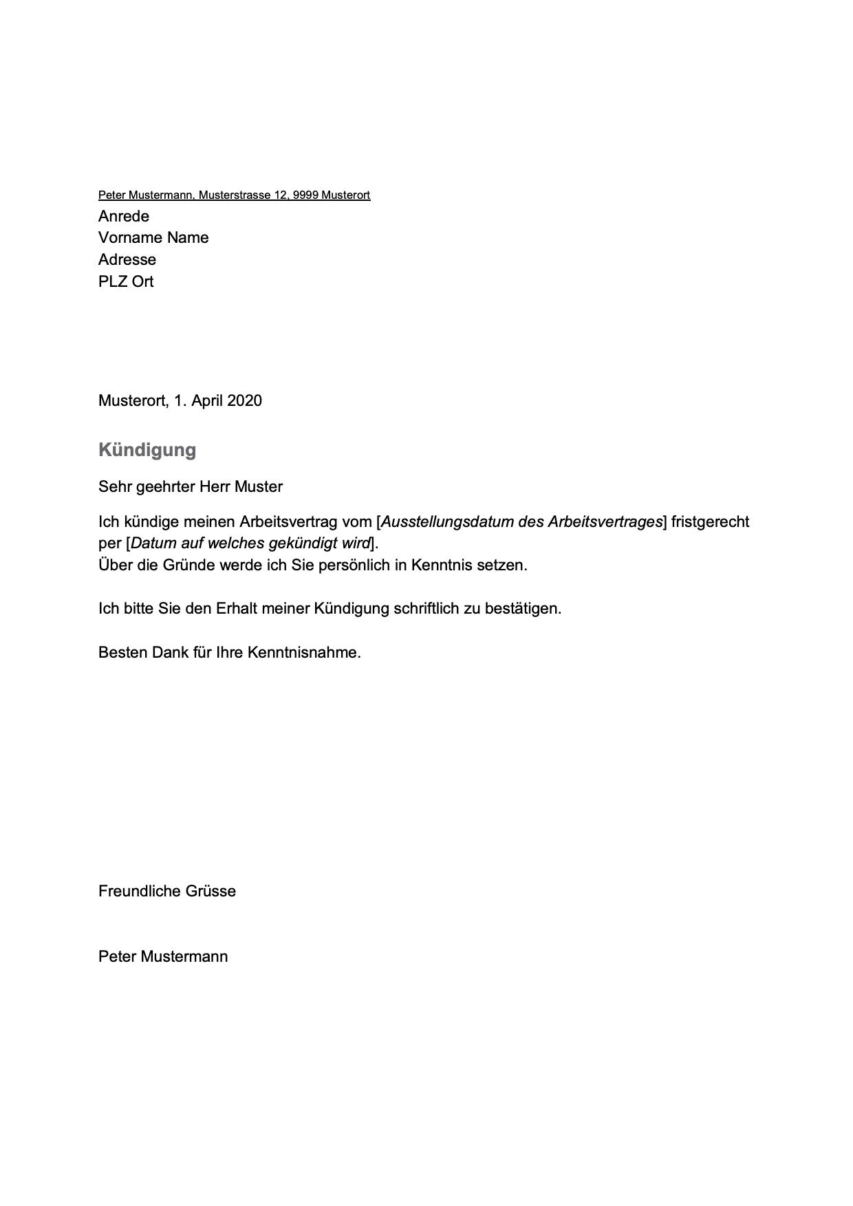 Kundigungsschreiben Arbeitnehmer Kostenlose Vorlage Downloaden