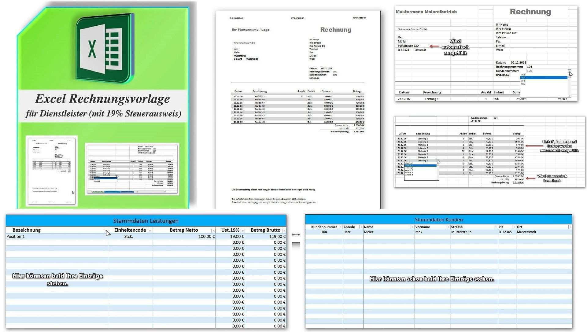 Premium Rechnungsvorlage Gemischte Steuersatze 5 7 16 Und 19 Rechnung Vorlage Rechnungsvorlage Vorlagen