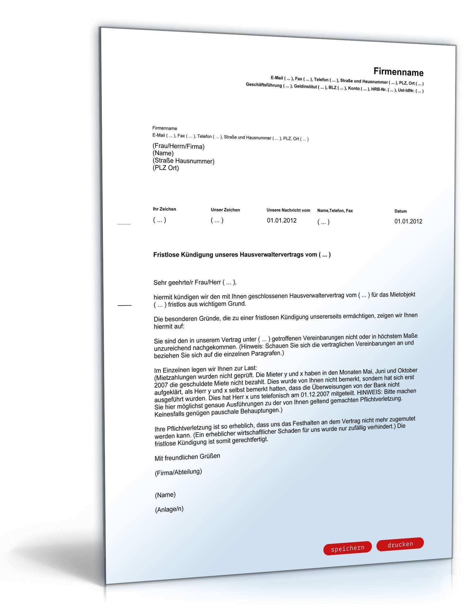 Fristlose Kundigung Hausverwaltervertrag Muster Zum Download