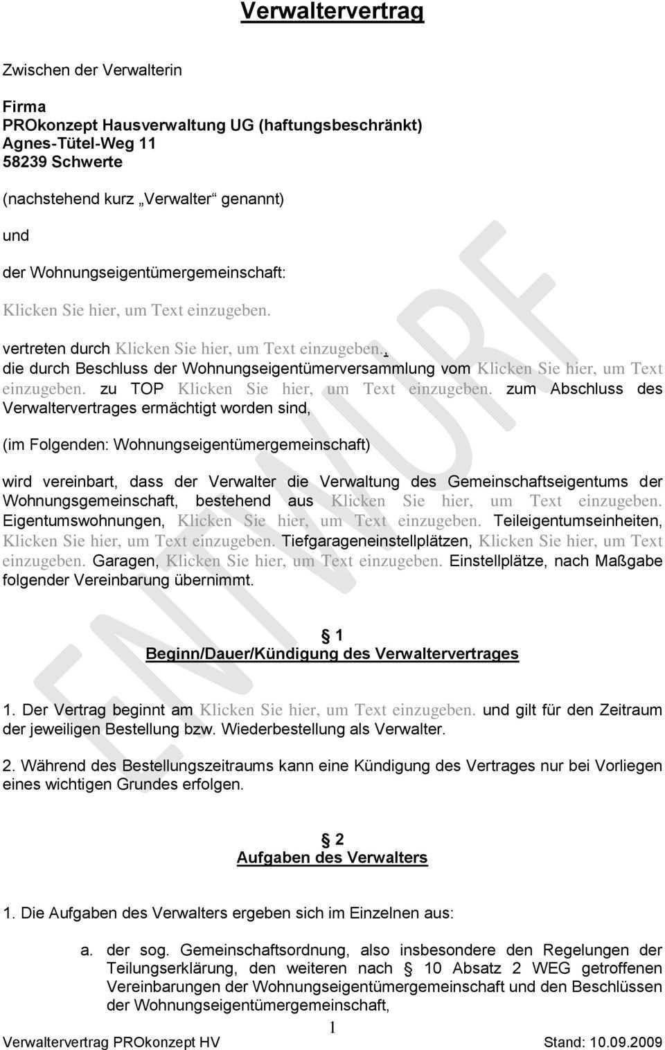 Verwaltervertrag Beginn Dauer Kundigung Des Verwaltervertrages Pdf Free Download