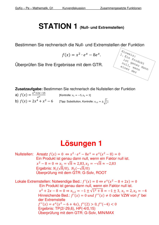 Stationen Kurvendiskussion Unterrichtsmaterial Im Fach Mathematik Mathematikunterricht Mathematik Unterrichtsmaterial