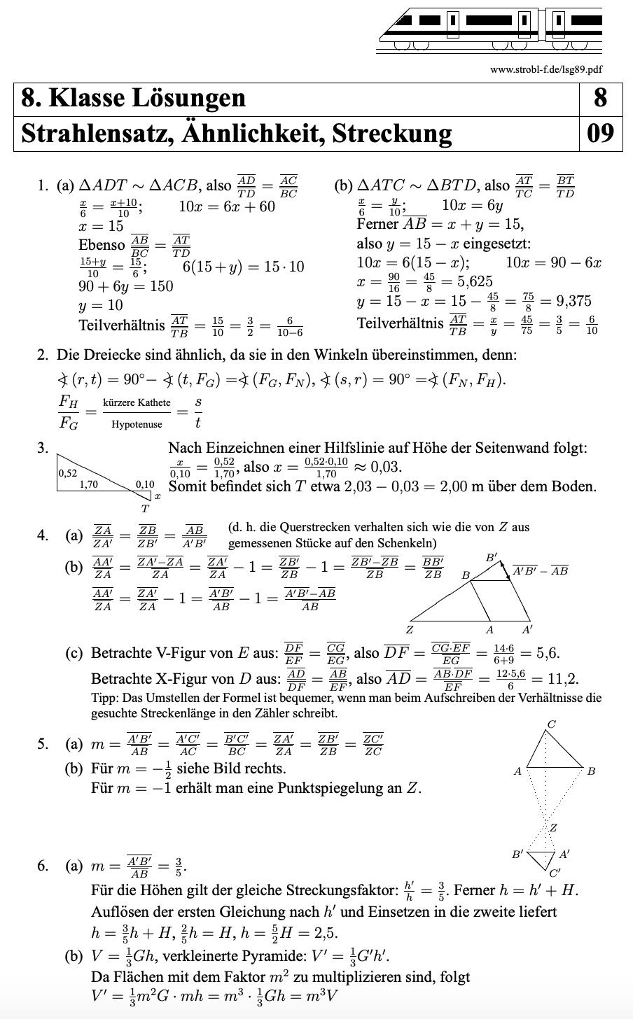 1 Und 2 Strahlensatz Aufgaben Und Ubungen Mit Losungen Pdf Download Matheaufgaben Einfache Satze Schulminator