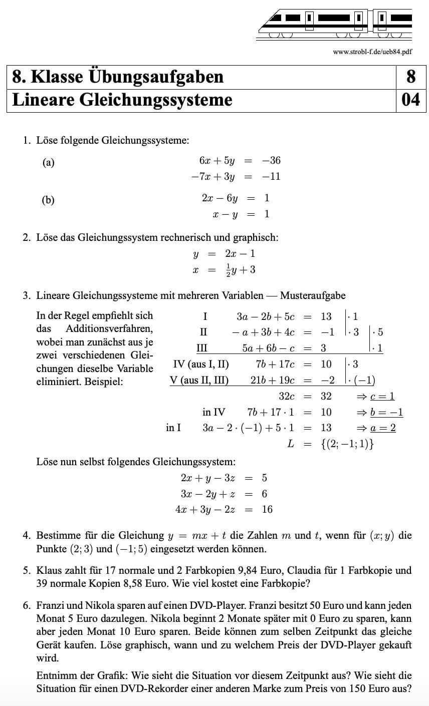 Lineare Gleichungssysteme Aufgaben Mit Losungen Pdf Download Gleichungssysteme Gleichung Mathe Formeln