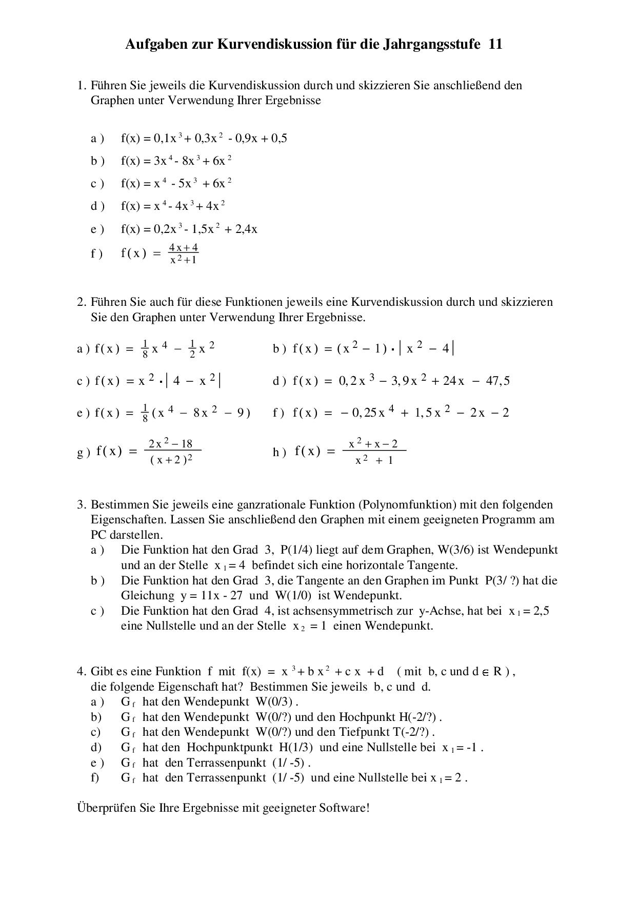 Aufgaben Mit Losungen Zur Kurvendiskussion Jahrgangsstufe 11 Docsity