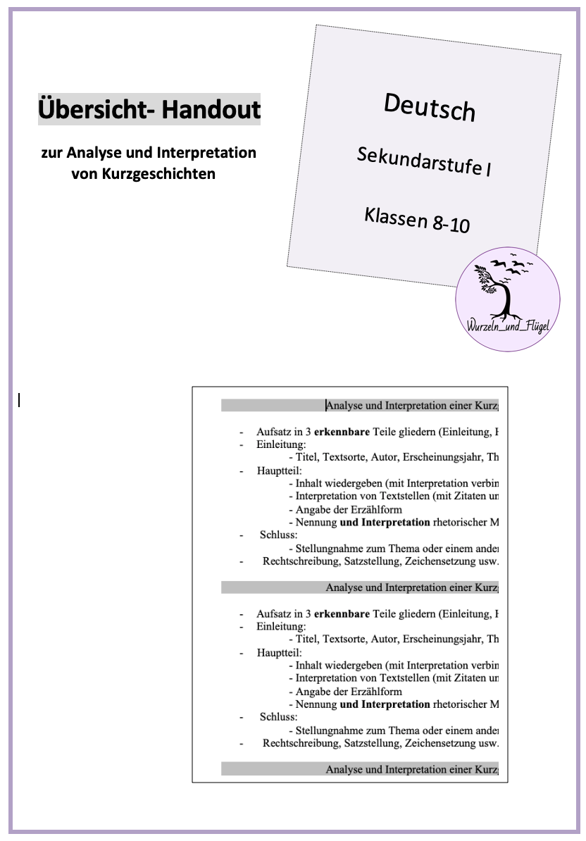 Handout Zur Analyse Von Kurzgeschichten Sekundarstufe I Handout Kurzgeschichten Kurzgeschichte Analyse