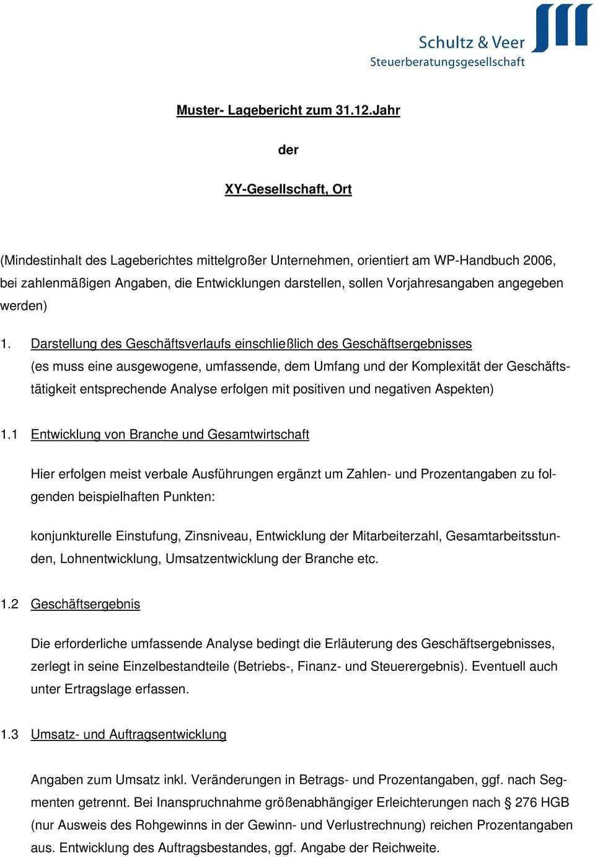 Muster Lagebericht Zum Jahr Der Xy Gesellschaft Ort Pdf Kostenfreier Download