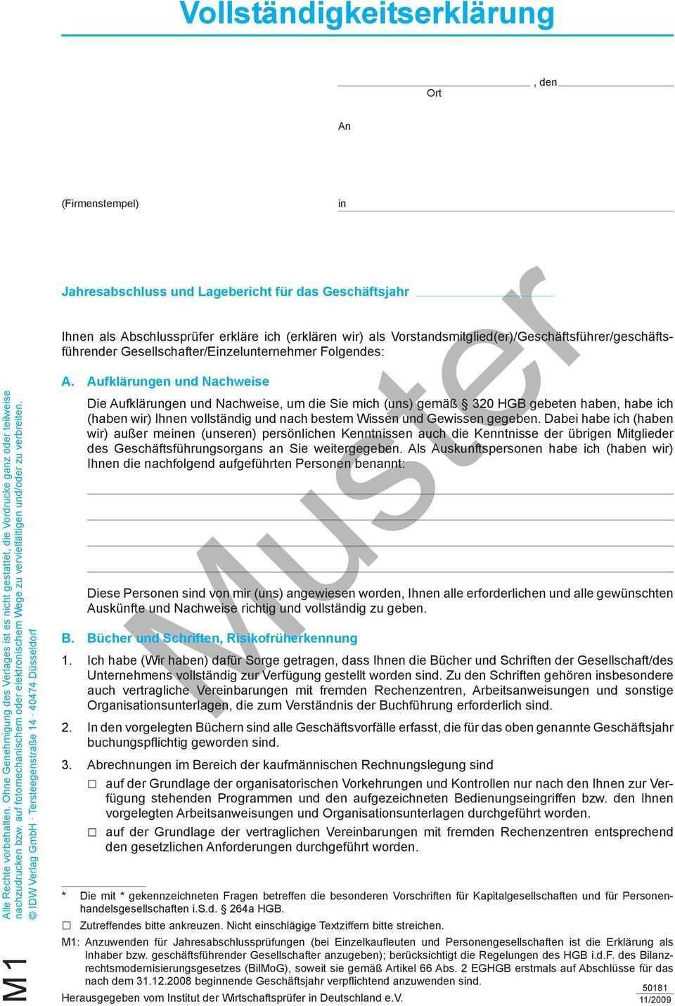 Vollstandigkeitserklarung Ort Muster Jahresabschluss Und Lagebericht Fur Das Geschaftsjahr Pdf Kostenfreier Download