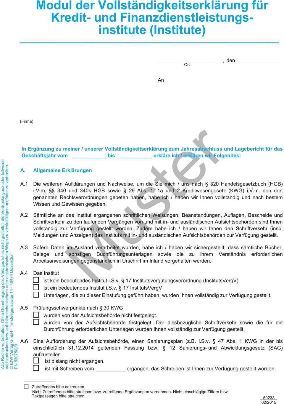 Modul Der Vollstandigkeitserklarung Fur Kredit Und Finanzdienstleistungsinstitute Muster Pdf Free Download