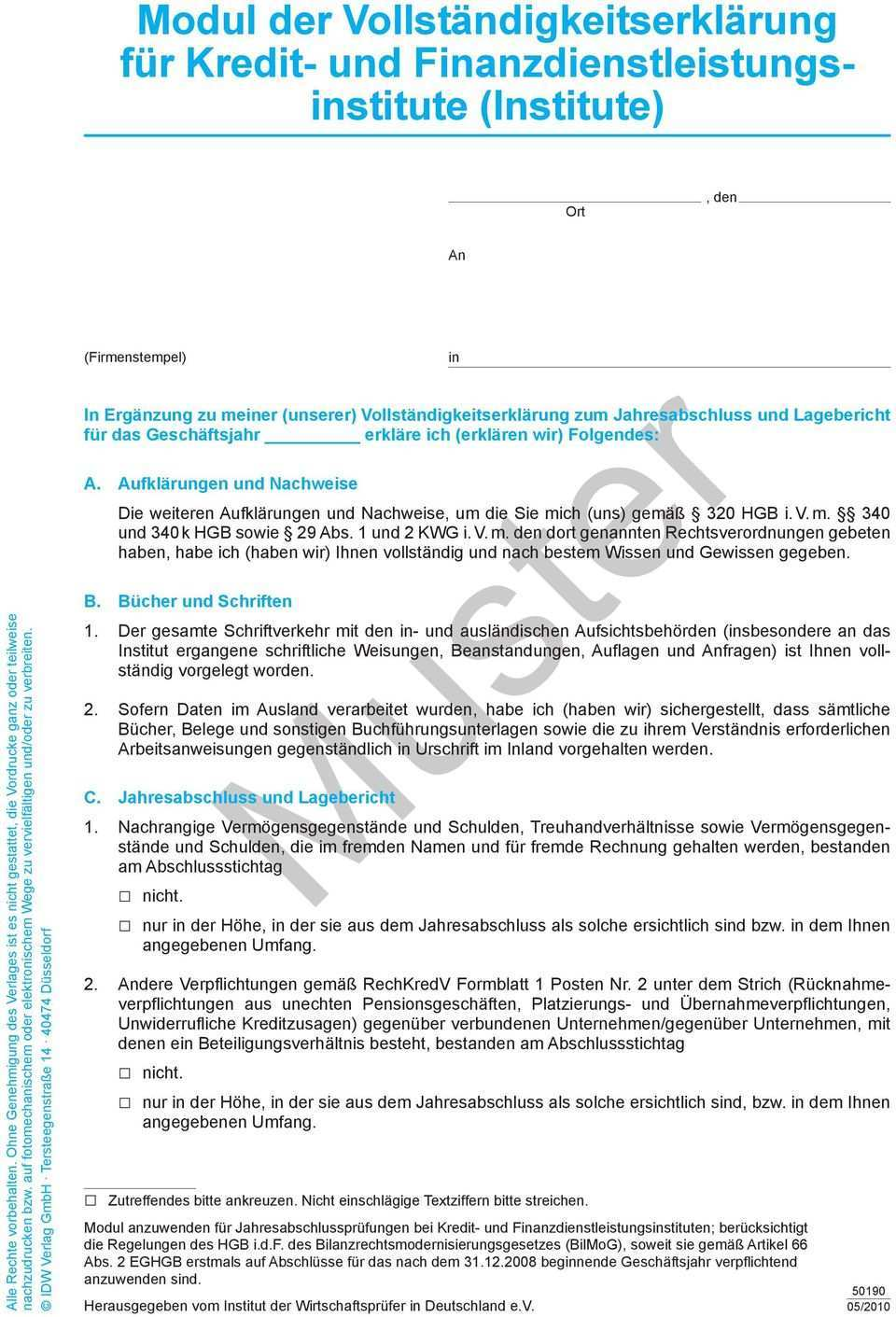 Modul Der Vollstandigkeitserklarung Fur Kredit Und Finanzdienstleistungsinstitute Ort Muster Pdf Free Download