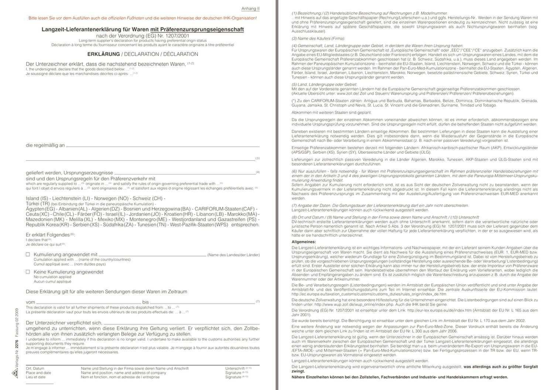 Rnk Verlag 2276 Langzeit Lieferantenerklarung Praferenzursprungseigenschaft 2 Seiten Din A4