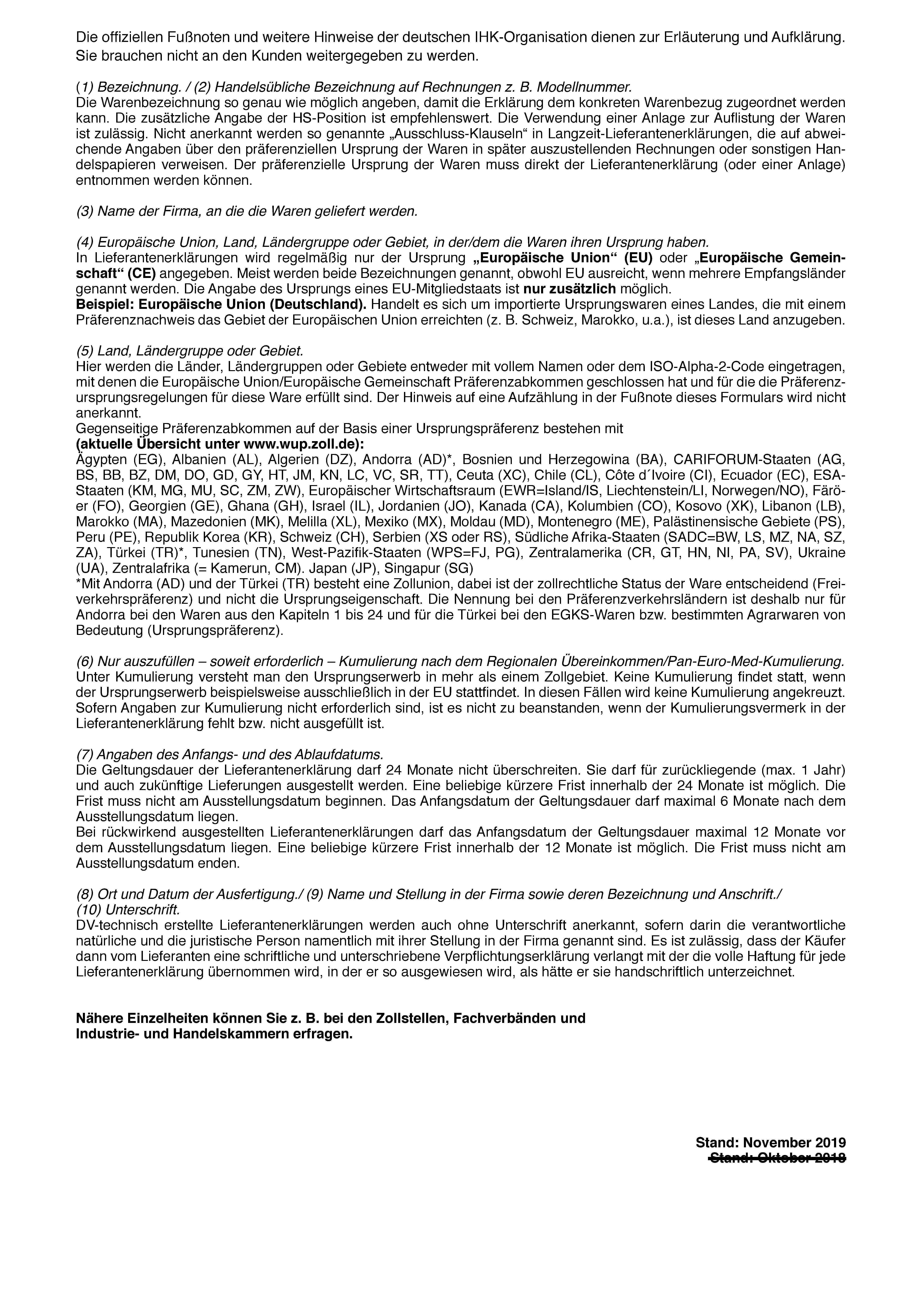 Lieferantenerklarung Langzeiterklarung Fur Waren Mit Praferenzursprungseigenschaft Stand November 2019 Vpe 100 Stuck 10046