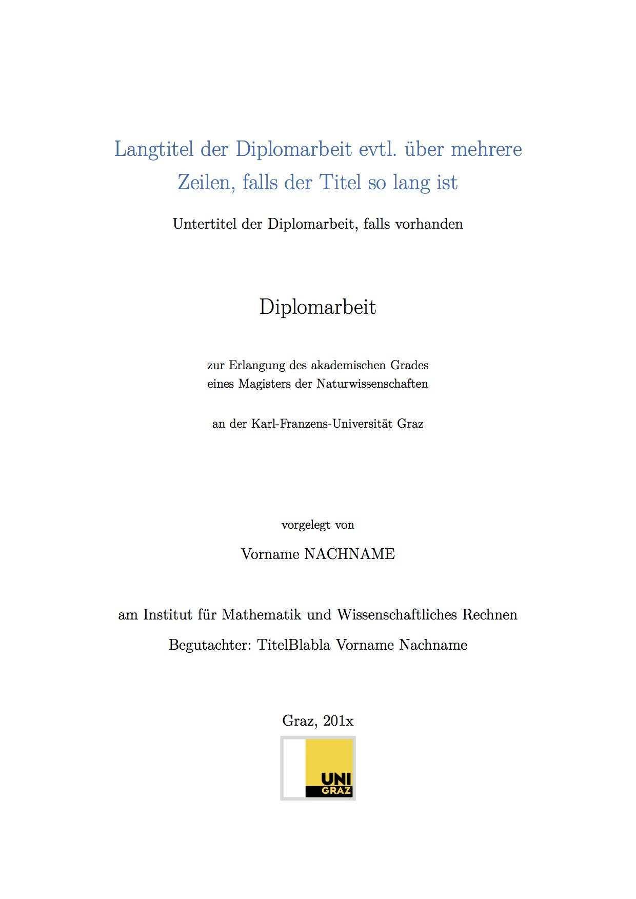 Latex Vorlage Bac Master Diplomarbeiten Studienvertretung Mathematik