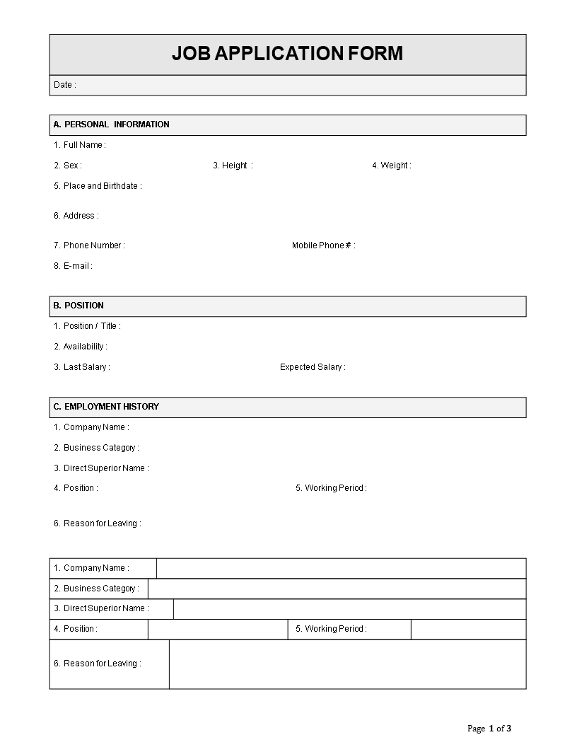 Employee Job Application Form Template Employee Job Application Form Template Docx Easy To Download An Job Application Form Job Application Application Form