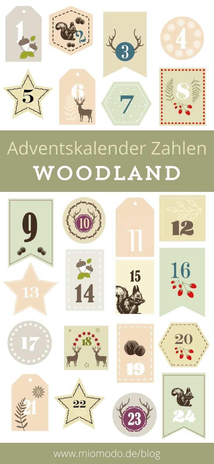 Diy Adventskalender Zahlen Woodland Miomodo Diy Blog Adventkalender Diy Adventskalender Zahlen Adventskalender Diy