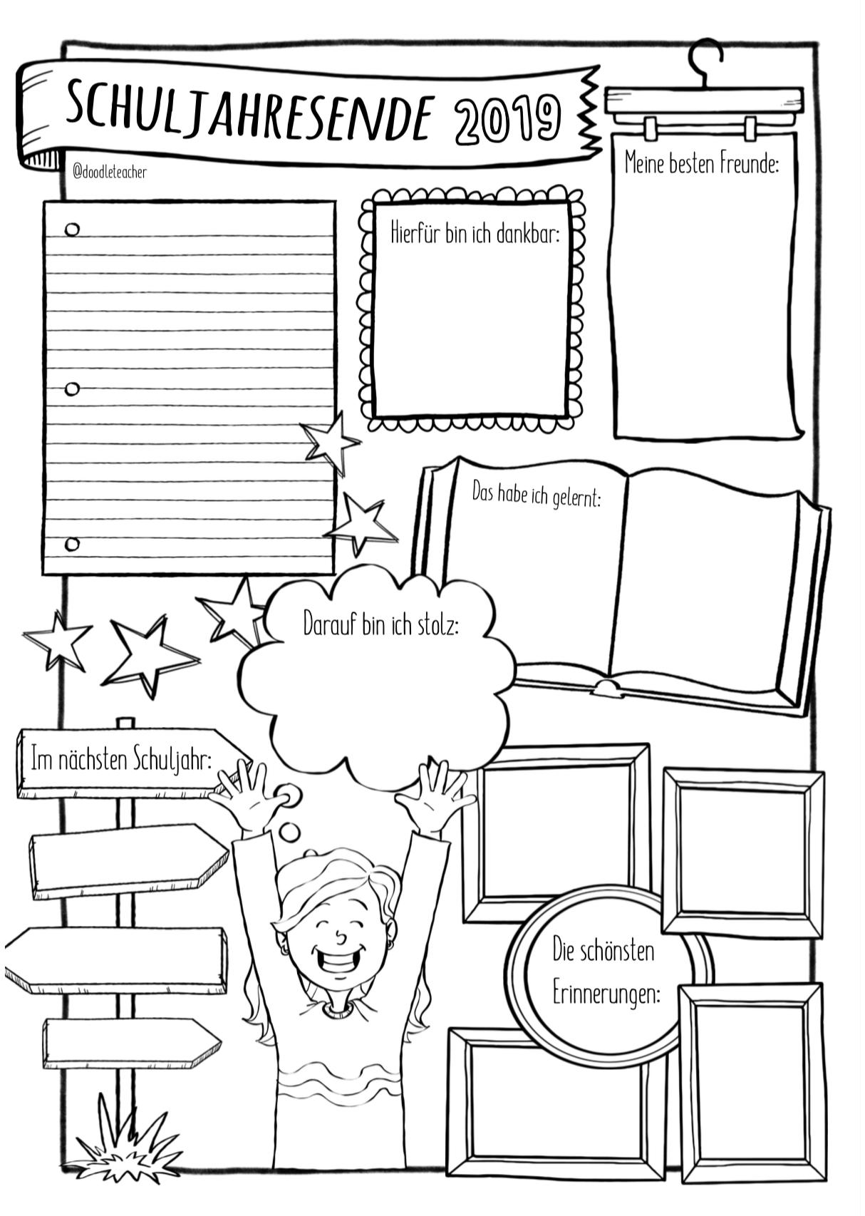 Schuljahresende Sketchnotes Unterrichtsmaterial In Den Fachern Daz Daf Deutsch Englisch Fachubergreifendes Franzosisch Skizze Notizen Schule Unterricht Schule