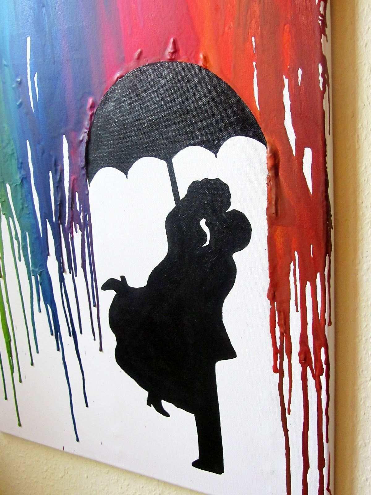 Crayon Art Kunst Aus Wachsmalstiften Fohn Schmelzen Regenschirm Paar Hochzeit Liebe Silouette Umbrella Regen Bunte Kunst Wachsmalstifte Leinwandkunst