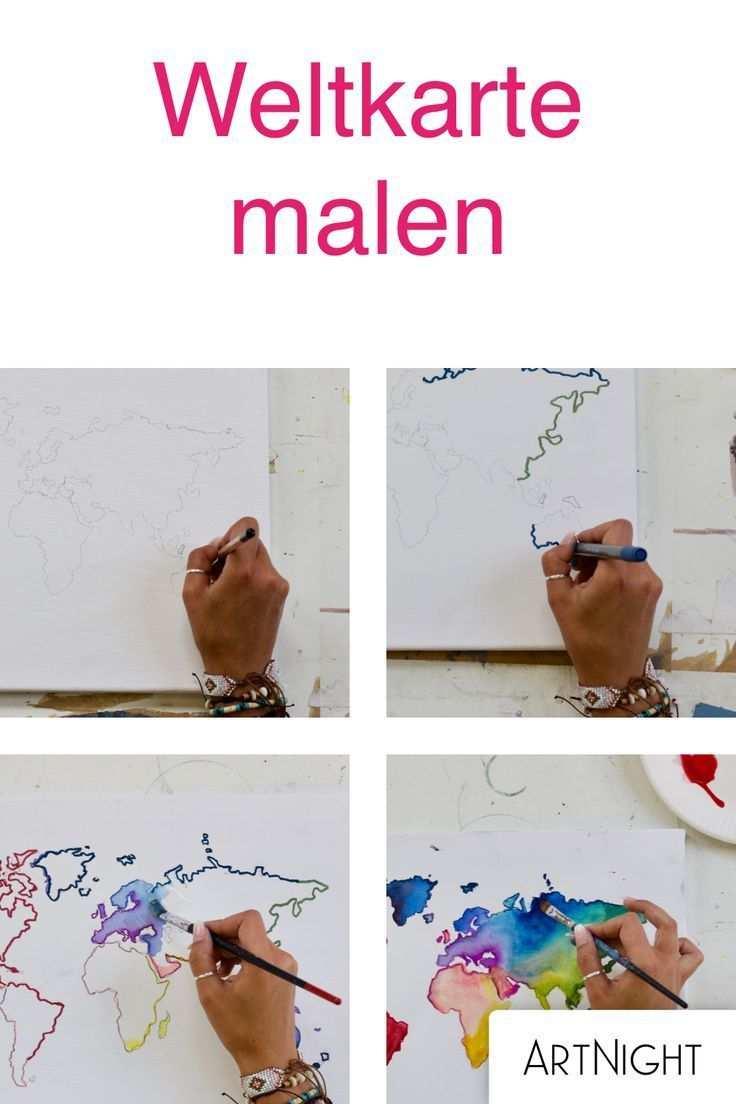 Weltkarte Malen Schritt Fur Schritt Zum Kunstwerk Leinwand Malen Weltkarte Bilder Selber Malen
