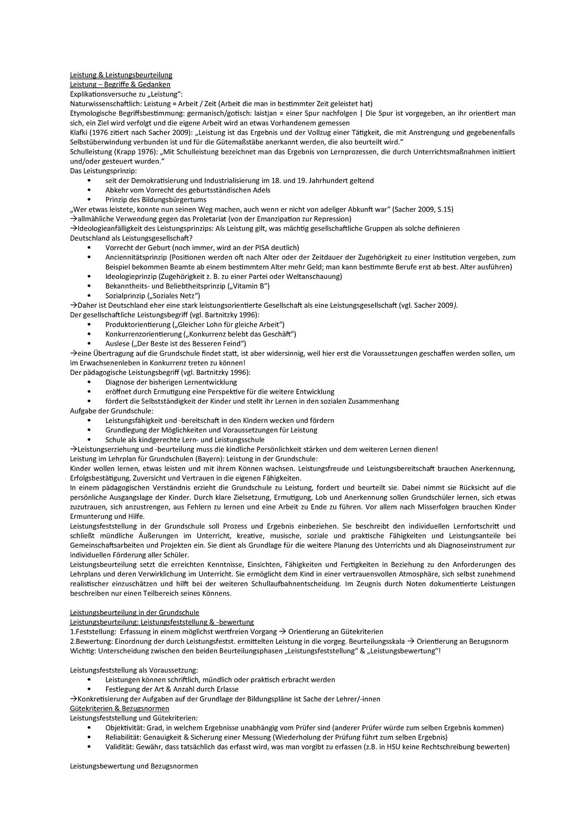 Leistung Leistungsbeurteilung Studocu