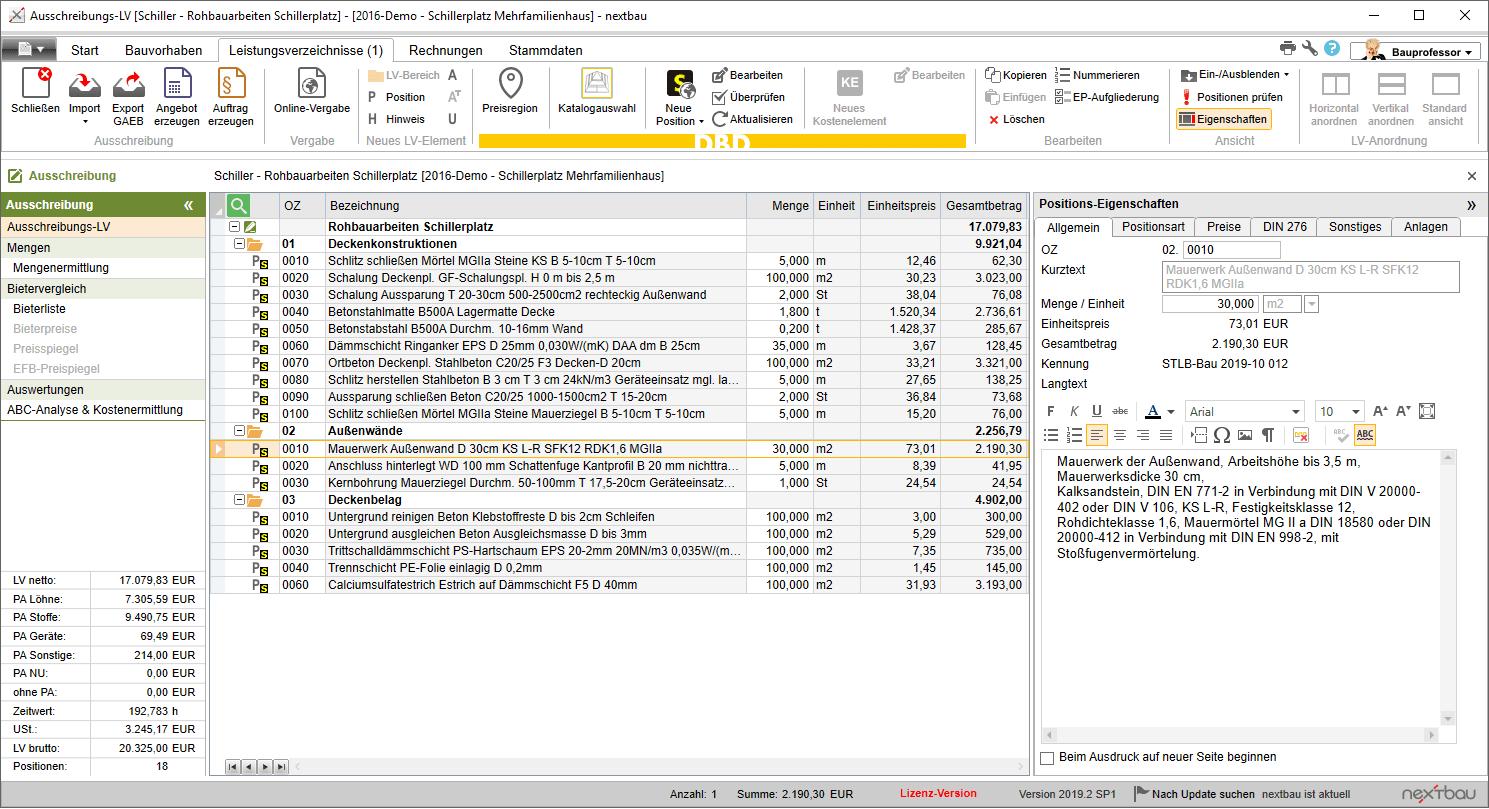Leistungsverzeichnis Lv Lexikon Bauprofessor